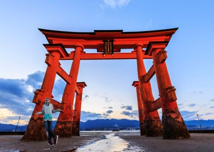 Giant Torii at Itsukushima Shrine , Miyajima Island